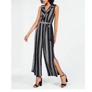 Monteau striped wide leg jumpsuit w/slits